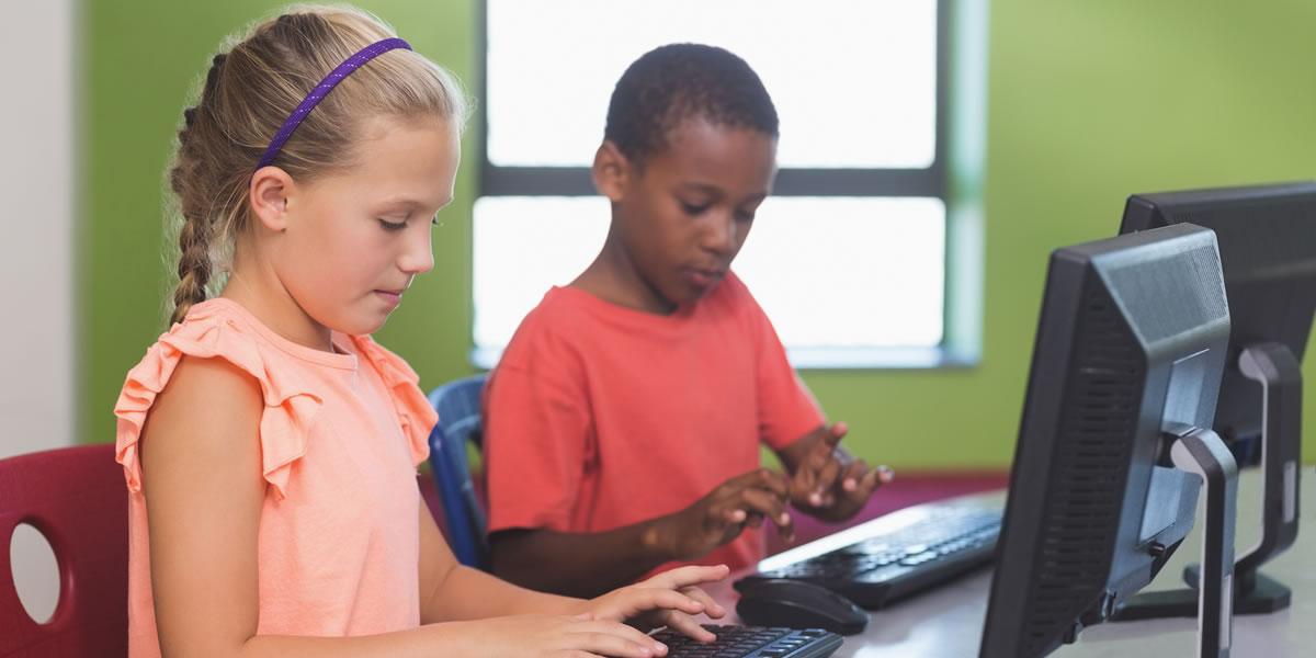School Children at School Computers